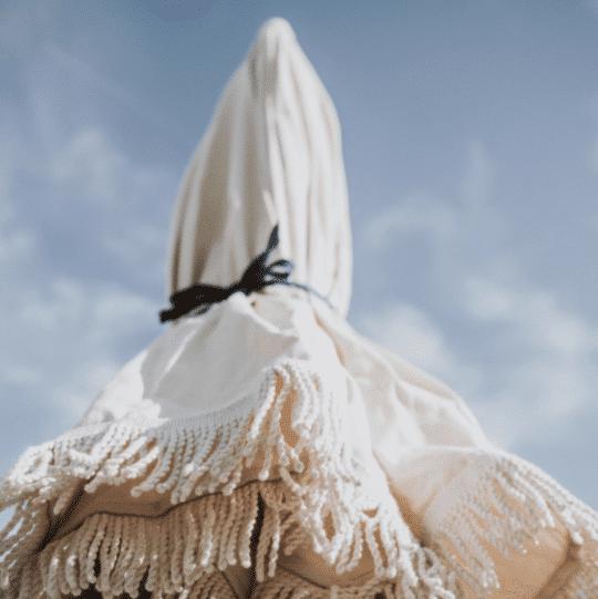 parasol en coton bio écru et franges