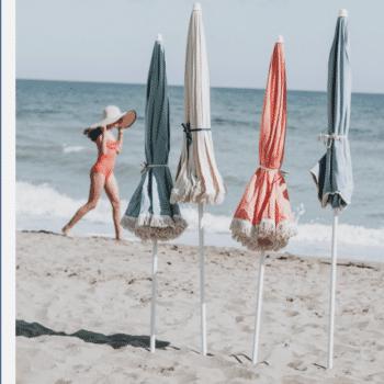 Parasol avec franges en toile de coton