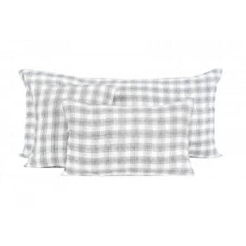 Coussin en lin à carreaux blanc