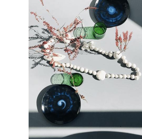 collier de table en argile blanche