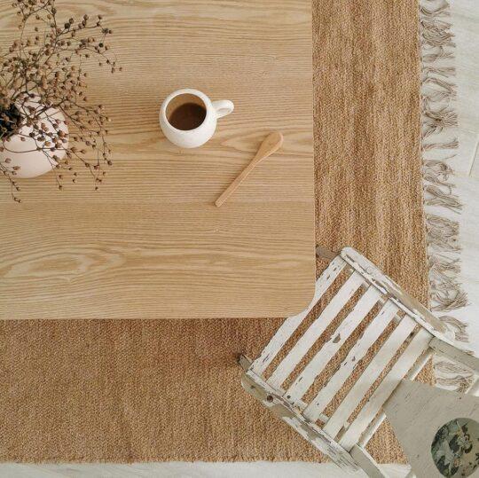 tapis en coton recyclé Nunamae Camel