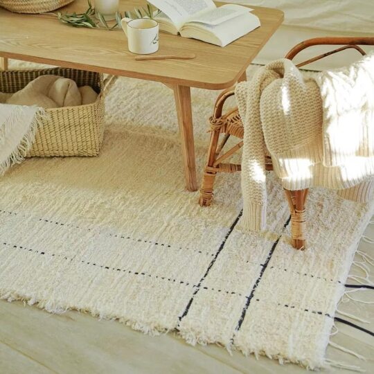 tapis creme en coton recyclé, Nuname